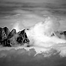 Clouds On The Mountains b&w by David DeWitt