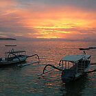 sunset over lembangon island - Bali by suellewellyn