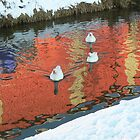 3geese in snow in pond  by LisaBeth