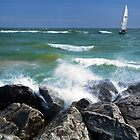 Sailboat and Waves at Ottawa Beach by Randall Nyhof