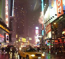 Times Square Taxi on a snowy night by Jess Craig