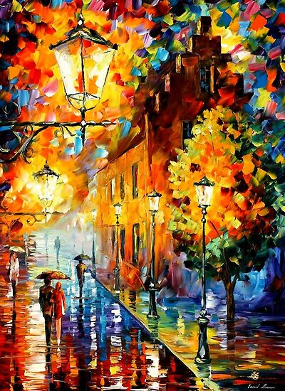 LIGHTS IN THE NIGHT - Original Art Oil Painting By Leonid Afremov by Leonid  Afremov