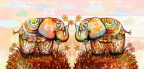 true happiness elephants by © Karin  Taylor