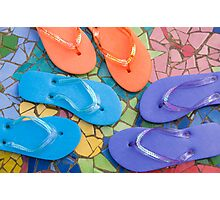 """""""Flip Out Color"""" - flip flops on top of colorful tile Photographic Print"""