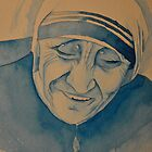 Mother Theresa laughing by Sophie Jane Mortimer