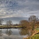 Winter walk along the river Medway at Teston Kent England by brimo