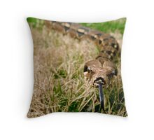 Snake with tongue out in grass Throw Pillow