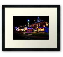 Home Decorated with Xmas Lights Framed Print