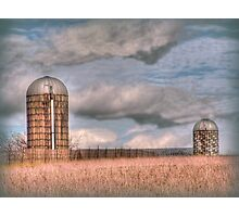 Two silos on a winter day Photographic Print