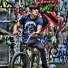 BMX Biker and graffiti by Guy Carpenter