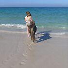 Footprints and hoofprints on the beach by JaanaWilson