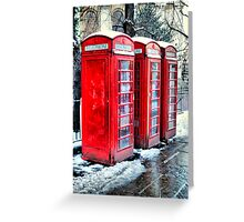 Three Telephone Boxes Greeting Card