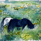Ponies in the Meadow watercolour by CheyAnne Sexton