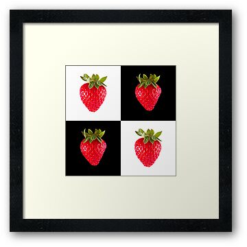 White & Black - Strawberries by Bryan Freeman