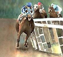 Into The Stretch And Heading For Home-Secretariat by arline wagner