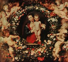 Virgin with a garland of Flowers by Rubens by Bridgeman Art Library