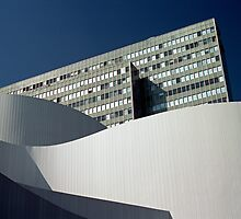 Düsseldorf Playhouse & Thyssen Building, Germany.  by David A. L. Davies