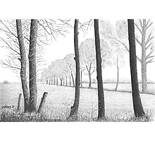 WINTER IN THE DUTCH COUNTRY SIDE PEIZE - PEN DRAWING Photographic Print