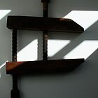 Vintage wooden clamp by Maggie Hegarty