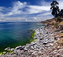 Isla Taquile Coastline, on Lake Titicaca by Dave Storym