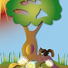 Squirrel hiding behind a tree by Linda Thibault