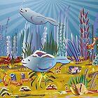 Seals in the ocean. by Linda Thibault