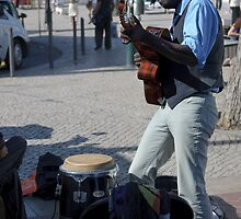 street guitar performance, Lisbon, Portugal by Andrew Jones