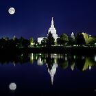 Idaho Falls Full Moon Reflection 20x24 by Ken Fortie