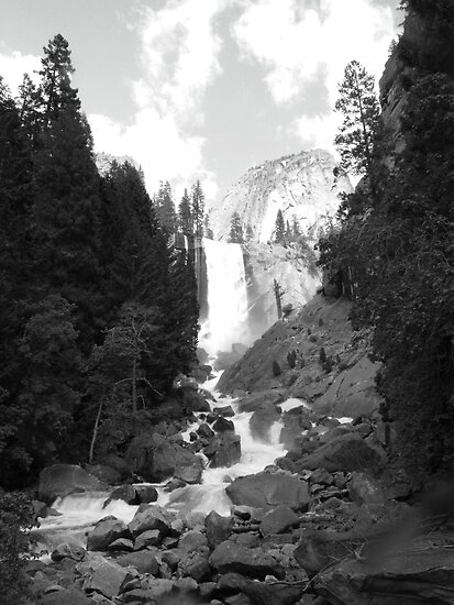 Vernal Falls Black &amp; White by Crystal Fobare