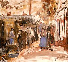 Old Market in Bordeaux 1888 by Jsimone