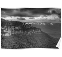 Icons (Monochrome) - Jamison Valley, Katoomba Blue Mountains World Heritage Area - The HDR Experience Poster