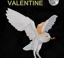 Barn Owl BE MY VALENTINE by Eric Kempson