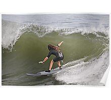 Nobby's Breakwall Surfer - Newcastle NSW Australia Poster