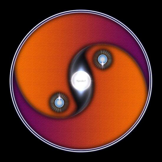 Yin Yang Sun OV On Black Background by xzendor7