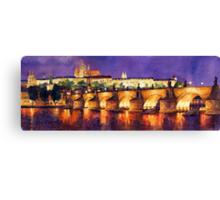 Prague Night Panorama Charles Bridge Canvas Print