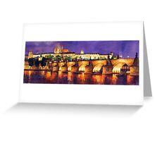 Prague Night Panorama Charles Bridge Greeting Card