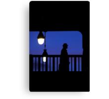 Paris - Silhouette on blue. Canvas Print