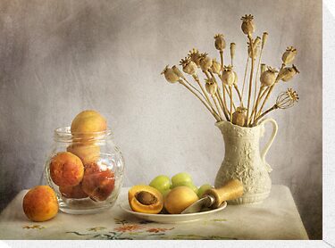 Apricots and poppies by Mandy Disher