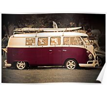 Camper van Surfs up Poster