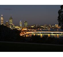 Perth nightscape, view from Kings Park Photographic Print