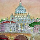 Dusk along the Tiber by johnpbroderick