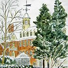 The Wren Building in Snow by johnpbroderick
