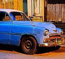 Blue Chevy at Dawn, Havana, Cuba by buttonpresser