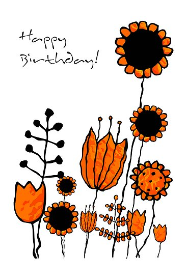 happy scribbly flowers by Emma Harckham