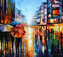 Night Umbrellas - original oil painting on canvas by Leonid Afremov by Leonid  Afremov