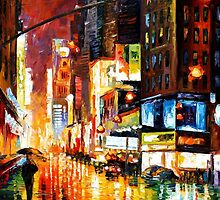 Times Square - original oil painting on canvas by Leonid Afremov by Leonid  Afremov