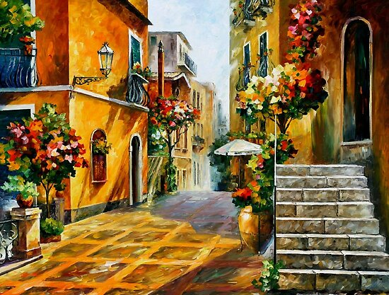 The sun Of Sicily - original oil painting on canvas by Leonid Afremov by Leonid  Afremov