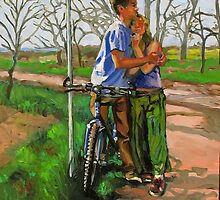 Lovers leaning against a bicycle by Dominique Amendola