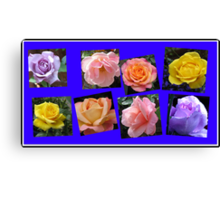 Roses of Many Colours Collage Canvas Print