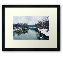 Des Plaines Rive in Winter, Riverside, Illinois Framed Print